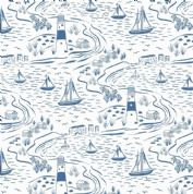 Lewis & Irene - Old Harry Rocks - 6425 - Lighthouse & Yachts, Blue on White - A366.1 - Cotton Fabric